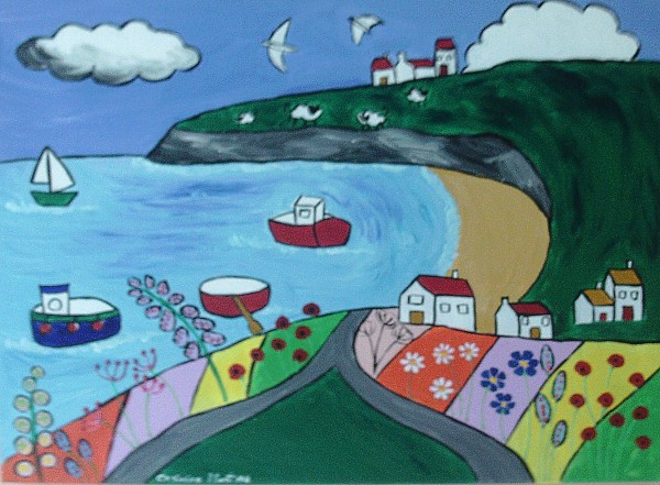 Naive painting of Robin Hoods Bay