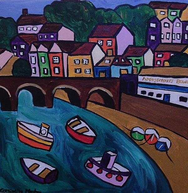 Naive seascape of Looe with colourful houses and boats