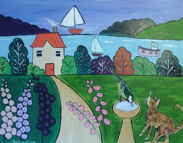Colourful Naive seascape with Great Tit and Cat