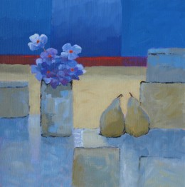 Two Pears and Blue Flowers