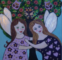 Angels standing by a folk art tree