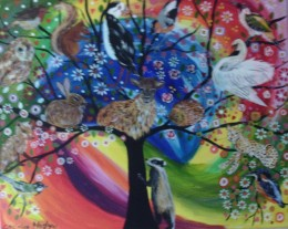 Tree of life in a colourful fantasy sky