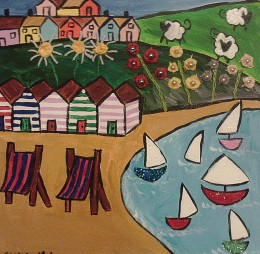 Naive painting of beach huts