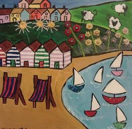 Naive painting of beach huts