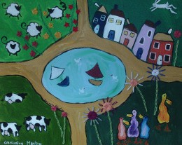 The Pond, naive painting with cows and sheep