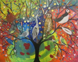 The Colourful bird tree in the rainbow sky